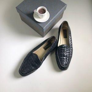 Sesto Meucci Black Weaved Leather Flats Shoes